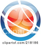 Royalty Free RF Clipart Illustration Of An Abstract Blue And Orange Orb Logo Icon by cidepix
