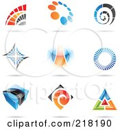 Royalty Free RF Clipart Illustration Of A Digital Collage Of Abstract Logo Icons With Shadows 5