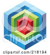Royalty Free RF Clipart Illustration Of An Abstract Blue Red And Green Cube Logo Icon