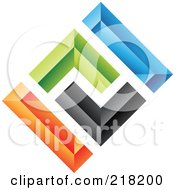 Royalty Free RF Clipart Illustration Of An Abstract Colorful Walls Logo Icon 1 by cidepix