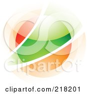 Royalty Free RF Clipart Illustration Of An Abstract Blurry Red Green And Orange Orb In Motion Logo Icon