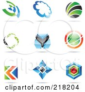 Royalty Free RF Clipart Illustration Of A Digital Collage Of Abstract Logo Icons With Shadows 20