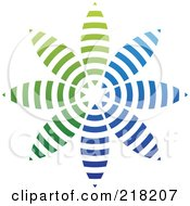 Royalty Free RF Clipart Illustration Of An Abstract Blue And Green Pinwheel Or Flower Logo Icon by cidepix
