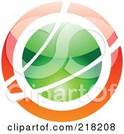 Royalty Free RF Clipart Illustration Of An Abstract Orange And Green Orb Logo Icon
