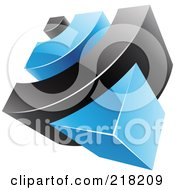 Royalty Free RF Clipart Illustration Of An Abstract 3d Blue And Black RSS Logo Icon
