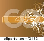 Clipart Picture Illustration Of A Blank Orange Bar With Brown And White Vines Over A Gradient Background