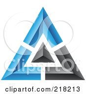 Royalty Free RF Clipart Illustration Of An Abstract Blue And Black Pyramid Or Triangle Icon