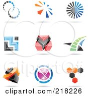 Royalty Free RF Clipart Illustration Of A Digital Collage Of Abstract Logo Icons With Shadows 21