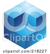 Royalty Free RF Clipart Illustration Of An Abstract Blue Cube Logo Icon