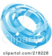 Poster, Art Print Of Abstract Ice Blue Circle Maze Logo Icon