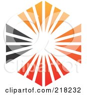 Royalty Free RF Clipart Illustration Of An Abstract Orange Red And Black Sunburst Hexagon Logo Icon