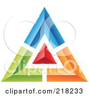 Royalty Free RF Clipart Illustration Of An Abstract Blue Green Red And Orange Pyramid Or Triangle Icon