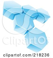 Royalty Free RF Clipart Illustration Of An Abstract Icy Blue Hexagon Honeycomb Network Logo Icon