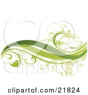 Clipart Picture Illustration Of Three Green Waves And Leafy Vines With Fading Texturing On A White Background