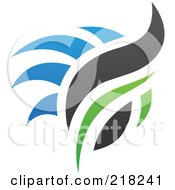 Royalty Free RF Clipart Illustration Of An Abstract Blue Green And Black Fire Logo Icon 3 by cidepix