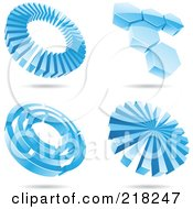 Royalty Free RF Clipart Illustration Of A Digital Collage Of Four Icy Blue Circle And Hexagon Logo Icons With Shadows