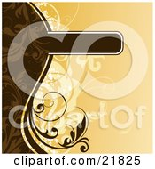 Clipart Picture Illustration Of A Blank Brown Text Box With Brown Vines On An Orange Background