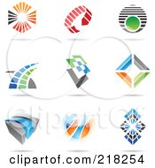Royalty Free RF Clipart Illustration Of A Digital Collage Of Abstract Logo Icons With Shadows 8
