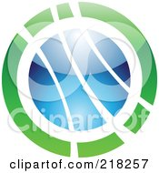 Royalty Free RF Clipart Illustration Of An Abstract Green And Blue Orb Logo Icon by cidepix