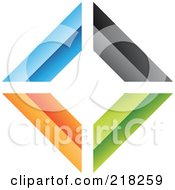 Royalty Free RF Clipart Illustration Of An Abstract Colorful Walls Logo Icon 2 by cidepix