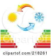Royalty Free RF Clipart Illustration Of Yellow And Blue Arrows With A Sun And Snowflake Over An Energy Rating Chart by cidepix