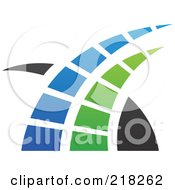 Royalty Free RF Clipart Illustration Of An Abstract Blue Green And Black Swoosh Logo Icon 1