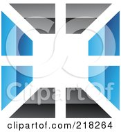 Royalty Free RF Clipart Illustration Of An Abstract Blue And Black Wall Logo Icon 3 by cidepix