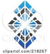 Royalty Free RF Clipart Illustration Of An Abstract Bursting Blue And Black Diamond Logo Icon
