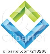 Royalty Free RF Clipart Illustration Of An Abstract Blue And Green Diamond Wall Logo Icon by cidepix
