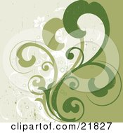 Clipart Picture Illustration Of Green Scrolled Vines Over White Flowering Plants On A Grunge Green Background