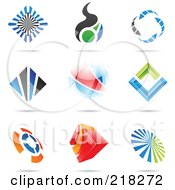 Royalty Free RF Clipart Illustration Of A Digital Collage Of Abstract Logo Icons With Shadows 6