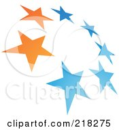 Royalty Free RF Clipart Illustration Of An Abstract Tilted Circle Of Stars Logo Icon