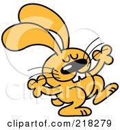 Royalty Free RF Clipart Illustration Of An Orange Cartoon Rabbit Dancing 1