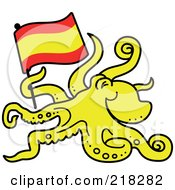 Royalty Free RF Clipart Illustration Of A Yellow Paul The Octopus Predicting That Spain Would Win The Soccer World Cup