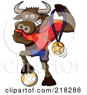 Royalty Free RF Clipart Illustration Of A Spanish Soccer Bull Resting His Foot On A Ball And Holding Up A Medal by Zooco