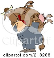 Royalty Free RF Clipart Illustration Of A Farm Worker Carrying A Big Cow On His Back
