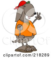 Royalty Free RF Clipart Illustration Of A Hippie Dog In A Red Cap And Orange Shirt Gesturing Peace by djart