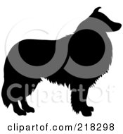 Royalty Free RF Clipart Illustration Of A Black Silhouetted Collie Dog In Profile by Pams Clipart
