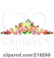 Royalty Free RF Clipart Illustration Of A Border Of Ladybugs And Colorful Flowers by Pams Clipart
