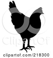 Royalty Free RF Clipart Illustration Of A Black Chicken Silhouette by Pams Clipart