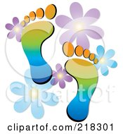 Royalty Free RF Clipart Illustration Of A Pair Of Colorful Human Footprints With Flowers by Pams Clipart