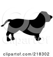 Royalty Free RF Clipart Illustration Of A Black Silhouetted Basset Hound Dog In Profile by Pams Clipart