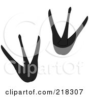 Royalty Free RF Clipart Illustration Of A Pair Of Black And White Penguin Tracks by Pams Clipart