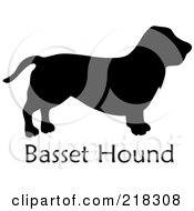 Royalty Free RF Clipart Illustration Of A Black Silhouetted Basset Hound Dog Over Text by Pams Clipart
