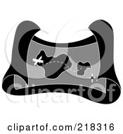 Royalty Free RF Clipart Illustration Of A Grayscale Pirate Treasure Map Of A Trail Leading To An X