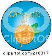Royalty Free RF Clipart Illustration Of An Organic Halved Orange On A Blue Circle