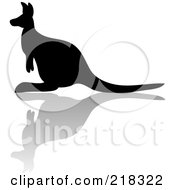 Royalty Free RF Clipart Illustration Of A Silhouetted Black Kangaroo With A Reflection by Pams Clipart