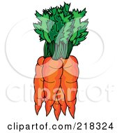 Royalty Free RF Clipart Illustration Of A Bundle Of Orange Carrots