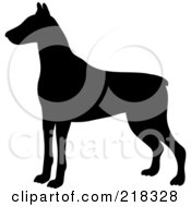Royalty Free RF Clipart Illustration Of A Black Silhouetted Doberman Pinscher Dog In Profile