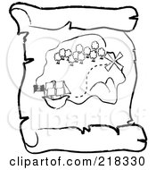 Outlined Ship Near An Island On A Scroll Treasure Map